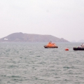 Spirit of Guernsey and Sark Venture near the French yacht Anita Bomba 07-02-10 Pic by Tony Rive