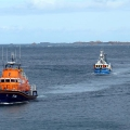Pic by Tony Rive 17-09-15 The Lifeboat Spirit of Guernsey about to tow the 40ft local Fishing boat Defiance into it's home , St Peter Port after it's Prop had been fouled by a rope approximately 9 miles north of Guernsey.