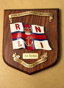 Pic by Tony Rive 20-07-16 A Plaque presemted to Alf Solway by the National RNLI and the Guernsey Lifeboat Station Crew and Lifeboat Guild.