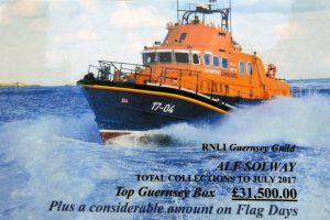 Pic by Tony Rive 20-07-16 A Card made up for Guernsey's Top Fund Raise Alf Solway to accompany a Plaque presented to him by Guernsey's Bailiff Richard Collas from the National RNLI and Guernsey's Lifeboat Volunteers. Alf was also given a Mug and 1 0f Two new Postcards which have just been Printed for the Guernsey Station using two of my pictures.